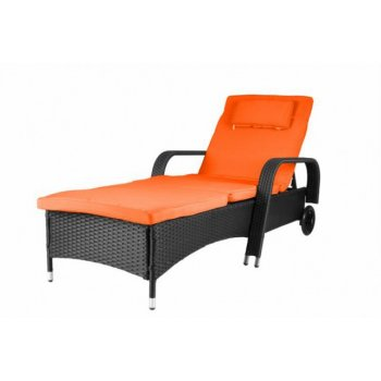 Luxusní zahradní lehátko - oranžové D29786