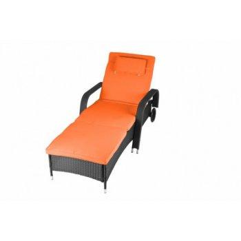 Luxusní zahradní lehátko - oranžové