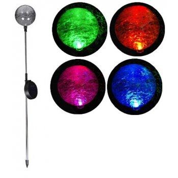 Zahradní LED solární lampa Garth skleněné koule s barevnou změnou osvětlení D00306