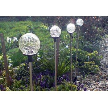 Zahradní LED solární lampa Garth skleněné koule s barevnou změnou osvětlení