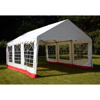 Zahradní stan - bílá / červená, 4 x 6 m D00412
