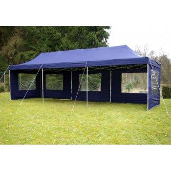Zahradní skládací stan - modrý, 3 x 9 m