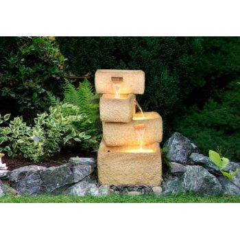 Zahradní kašna - fontána se 4 kamennými žlaby, čerpadlem a osvětlením