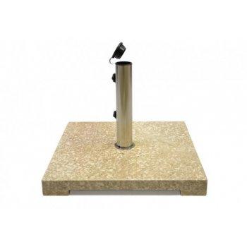Stojan na slunečník z mramoru a ušlechtilé oceli, čtvercový, 25 kg D02163