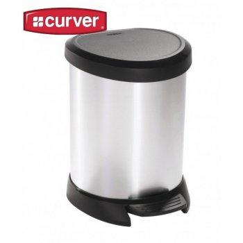 Odpadkový koš pedálový DECOBIN 20l stříbrná CURVER R30507