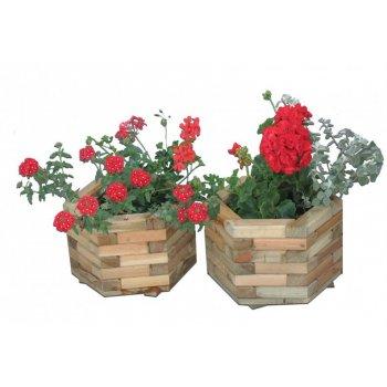 Dřevěný dekorativní 6-ti úhelný květináč malý R02696