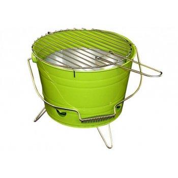 Mini BBQ gril vědro zelený D27146