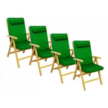 4 x kvalitní potah na židli s vysokým opěradlem Garth, zelený