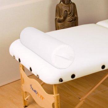 Polštář pro masážní stůl bílý kožený 68 cm válec