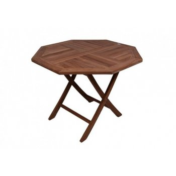 DIVERO skládací zahradní stolek z týkového dřeva, Ø 100 cm