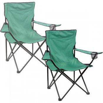 Sada 2x Skládací kempinková židle DELUXE - zelená M31209