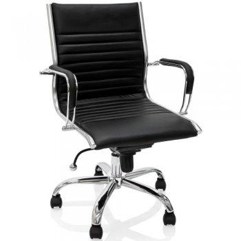 Kancelářská otočná židle - černý kožený vzhled M27377