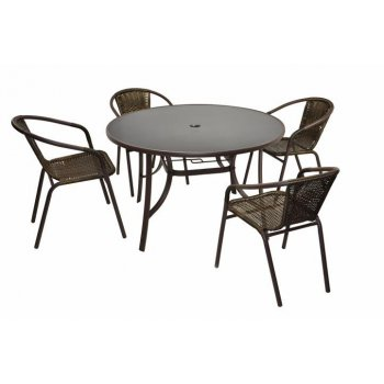 Bistro stolek a 4 židle z polyratanu Garth D31945