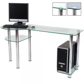 Skleněný počítačový stůl BASIC průhledný M01291