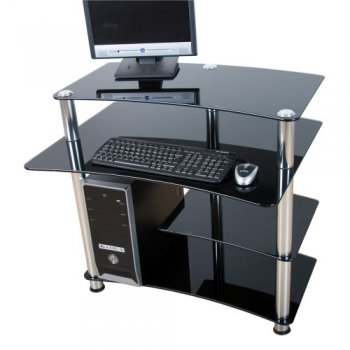 Skleněný počítačový stůl ELEGANT s černým sklem M02013