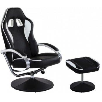 Kancelářská židle GT RELAX RACER s podnožkou - černá/bílá M32204