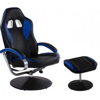Kancelářská židle Racer GT s podnožkou, černá/modrá M32205