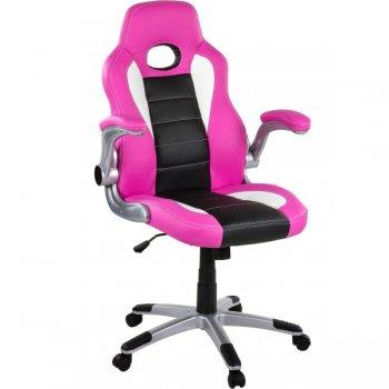 Otočná kancelářská židle GT-Racer - růžová/černá/bílá M32359