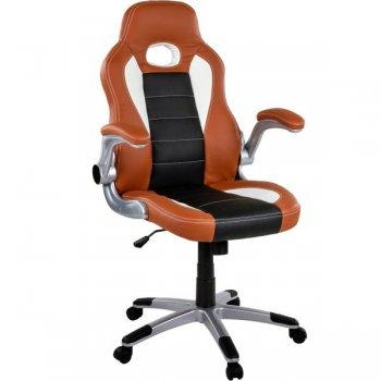 Otočná kancelářská židle GT-Racer - hnědá/černá/bílá M32358