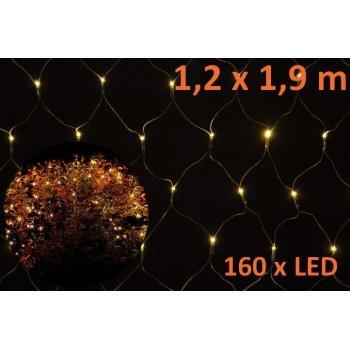 Vánoční osvětlení - LED světelná síť 1,2 x 1,9 m - teplá bílá, 160 diod D05965