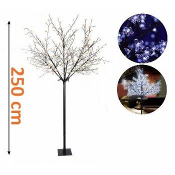 Vánočná dekorace - strom s kvítky - 250 cm, studená bílá D01308