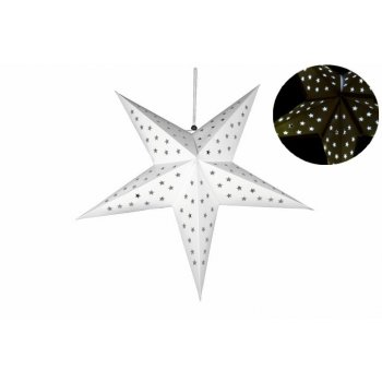 Vánoční dekorace - hvězda s časovačem 60 cm - 10 LED, bílá D32546
