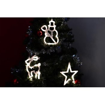 Vánoční dekorace na okno - hvězda, sněhulák, sob LED D32549