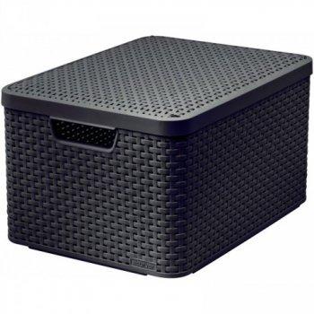 Plastový úložný STYLE BOX s víkem - L - hnědý CURVER R32301