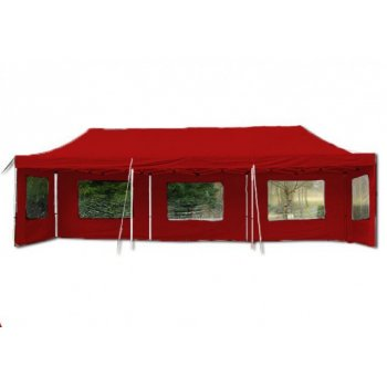Zahradní párty stan nůžkový - červený, 3 x 9 m
