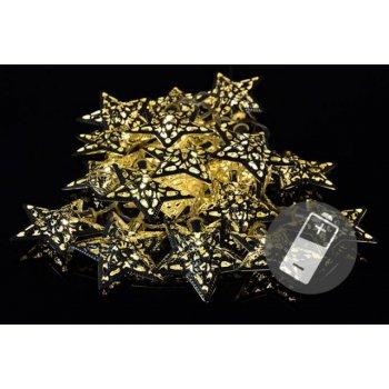 Vánoční LED osvětlení - stříbrné hvězdy - teple bílá 20 LED D33206