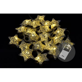 Vánoční LED řetěz - hvězdy - 20 LED, teple bílá D33489
