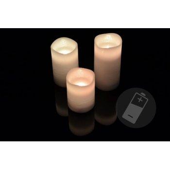 Dekorativní LED sada - 3 voskové svíčky - bílá D33486