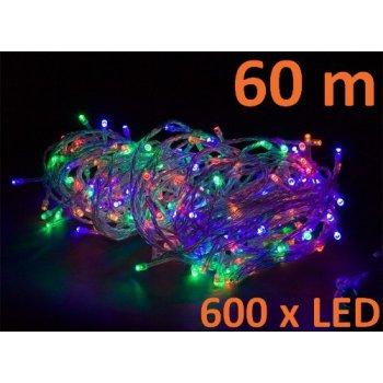 Vánoční LED osvětlení 60 m - barevné 600 LED M02047