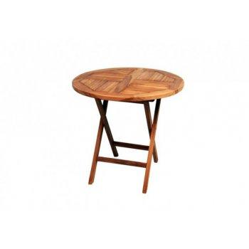 DIVERO kulatý zahradní stolek z týkového dřeva, Ø 80 cm D02211