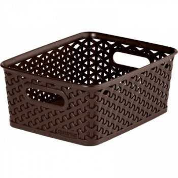 Polyratanový košík STYLE BOX S - tm. hnědá CURVER R33085