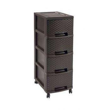 MY STYLE skříňka - 4 boxy - hnědá CURVER R32342