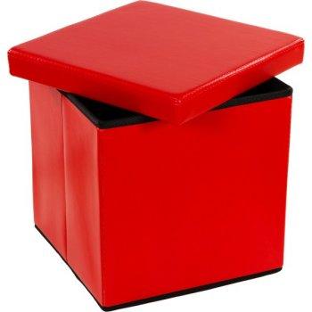 Taburet s úložným prostorem, červený M02496