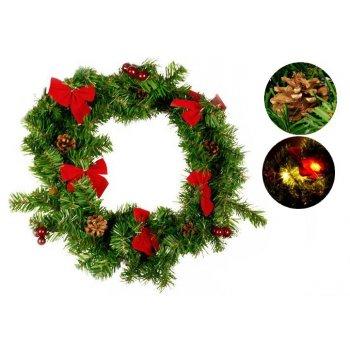 Vánoční dekorace - Vánoční věnec - 20 LED diod, 40 cm D28387