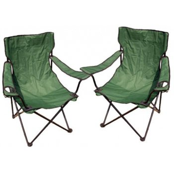 Kempingová sada - 2x skládací židle s držákem - zelená D27858
