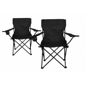 Kempingová sada - 2x skládací židle s držákem - černá D33436