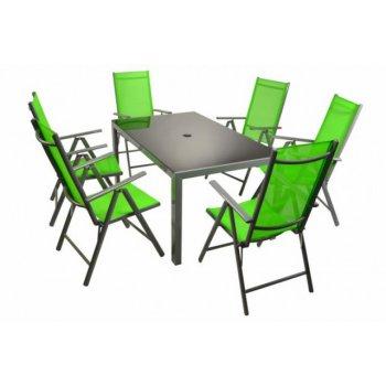 Moderní sada zahradního nábytku Garth 7 ks - zelená D33141
