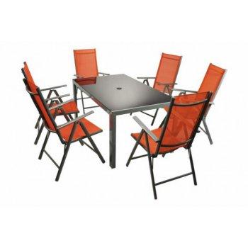 Moderní sada zahradního nábytku Garth 7 ks - oranžová D33140