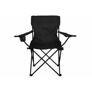 Skládací kempingová židle s držákem nápojů, černá D33263