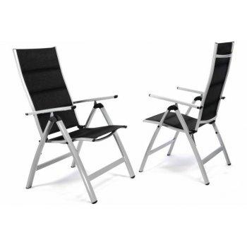 Sada 2 ks luxusních hliníkových polohovatelných černých židlí D35223