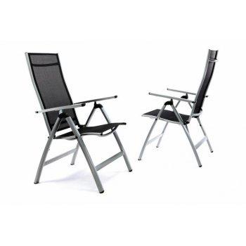 Sada 2 x extra široké zahradní židle polohovatelná - černá D35214