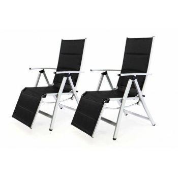 Sada 2 ks DELUXE zahradní polohovatelných židlí s opěrkou nohy - černá D35365