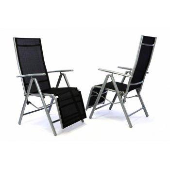 2x zahradní polohovací křeslo vč. opěrky na nohy - černá D35224