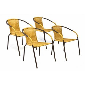 Sada 4 kusů zahradních židlí s výpletem - okrová