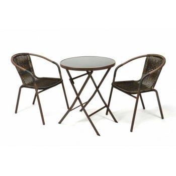 Zahradní balkonový set skládací bistro stolek + dvě židle D35216