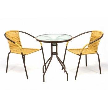Zahradní balkonový set 2 židle + skleněný stůl D35215